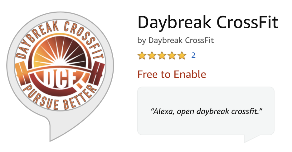 Alexa Skill for Daybreak CrossFit